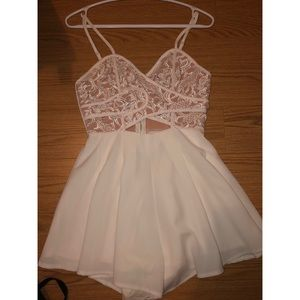Other - White romper with crochet top